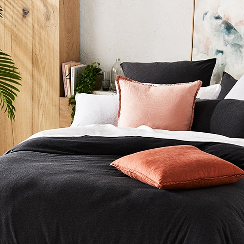 Home Republic Ultra Soft Jersey Black Marble Quilt Cover